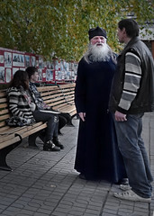 Russian Orthodox Priest in Bishkek, Kyrgyzstan (mattleof) Tags: sony rx100 central asia m4 matt fredrickson city photo photos photography light orange county california ca photographer russian orthodox priest bishkek kyrgyzstan beard white robe church black