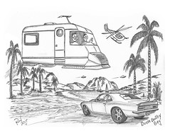 Bunabootey Bay (rod1691) Tags: myart art sketchbook bw scifi grey concept custom car retro space hotrod drawing pencil h2 hb original story fantasy funny tale automotive illistration greyscale moonpies sketch sexy booty