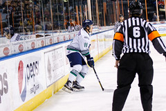 """Kansas City Mavericks vs. Florida Everblades, February 18, 2018, Silverstein Eye Centers Arena, Independence, Missouri.  Photo: © John Howe / Howe Creative Photography, all rights reserved 2018 • <a style=""""font-size:0.8em;"""" href=""""http://www.flickr.com/photos/134016632@N02/40387906201/"""" target=""""_blank"""">View on Flickr</a>"""