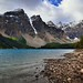 Seeing a Little Bit of Blue Skies Above While Walking Along the Shoreline of Moraine Lake (Banff National Park)