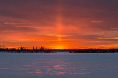 Diamond Sun (WherezJeff) Tags: alberta sunset weatherandseasons winter diamonddust lightpillar snow sturgeoncounty canada ca