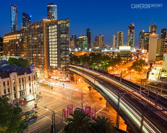 Melbourne City Twilight (cameron_sweeney) Tags: au aus australia australian batis blue bluehour buildings businessdistrict car city citylights holygrail landscape longexposure loop nightsky nighttoday nightlapse photography publictransport skyline sony sonya7r sunset train tram twilight vic victoria wide wideangle zeiss zeissbatis18mmf28 zeissbatis2818 a7r wwwcameronsweeneycomau melbourne batis2818 carlzeiss