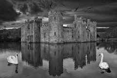 Reflecting on life (Pete 5D...©...) Tags: bodiam castle moat water reflection swans swan gull gulls stone monochrome bw evening dusk