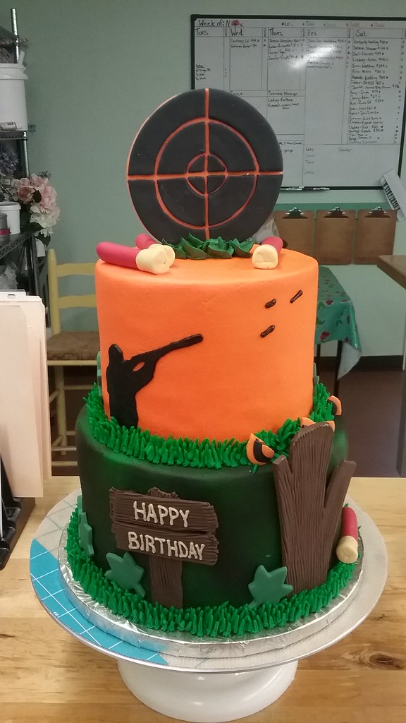 Hunting 2 Backhomebakerytx Tags Birthday Cake Target Shells Bird Silhouette
