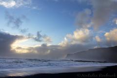 Reynisfjara Black Sand Beach, Iceland (ambeizzi) Tags: rej reynisfjara black sand beach blue water cloud crane rocks stones mist iceland vic sunrise