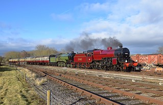 Visiting Locos Crab No.13065 & B12 No.8672 doublehead the 13.45 'non stop' express from Loughborough to Leicester Nort. Winter Steam Gala, Great Central Railway. 28 01 2018
