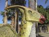 Crested Dinosaur Sunning (cobalt123) Tags: 2018 arizona canong10 february3 hoteltucsoncitycenter jpg tucson tucsoncitycenter tucsongemandmineral virginia age11 dinosaur editedbybjb sculpture photobyvirginia westwardlookresort