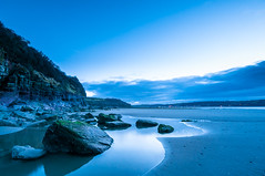 Llansteffan Beach Blue Hour (Chris J Richards Photography) Tags: landscape beach bluehour carmarthenshire cliffs clouds coast cymru llansteffan morning reflections rockpools rocks sand seasons sunrise time wales winter