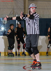 IMG_8289 crop 1 (KORfan) Tags: rollerderby barbedwirebetties cabinfeverscrimmage referees officials