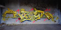 RUBER (RONEA-RUBER-GEK) Tags: ruber gek team graffiti yellow jaune main hand spray gold pink colors 2018 urbex friche saint etienne loire 42 school