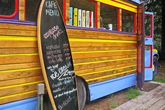 Surfboard, Schoolbus: Wood Rules! (AntyDiluvian) Tags: california coast bigsur highway highway1 inn restaurant riverinn surfboard wooden cafe menu woodsided bus schoolbus cigarettes