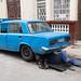 Man In Blue Repairing Blue Car Havana Cuba 2018
