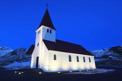 Vik Church (A Sutanto) Tags: vik iceland church town night lights blue hour dusk