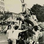 Human pyramid in the grass just off The Brickyard during Zoo Day in the '70s.