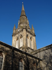 Blue Skies (Ian Robin Jackson) Tags: spire church stnicholaskirkaberdeen scotland scottish blueskies aberdeen churches historicbuilding shadows urban religiousbuilding vane time clock 2018 february aberdeenshire