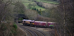 Up The Junction (whosoever2) Tags: uk united kingdom gb great britain nikon d7100 train railway railroad february 2018 chinley derbyshire peakdistrict dbs dbcargo class66 66021 peakforest cemex selby 6e51