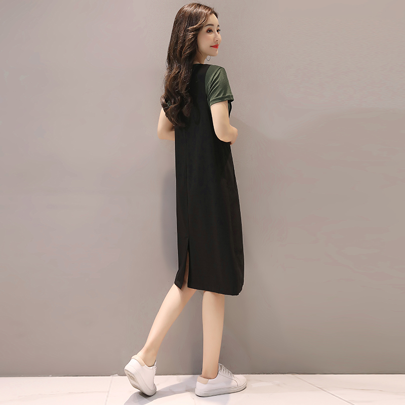 2017 new summer dress female thin waist loose fork in the long skirt with shoulder straps two suit tide