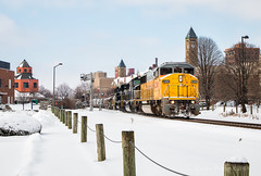 A Rare Triclops (Wheelnrail) Tags: emd sd60m triclops train trains union pacific up ns norfolk southern locomotive rails springfield ohio snow winter cold 305 manifest steel downtown yellow