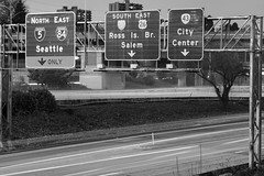 Macadam Avenue (Curtis Gregory Perry) Tags: portland oregon night sign gantry interstate 5 i5 freeway macadam avenue street road monochrome black white bw nikon d810 ross island bridge salem city center seattle north east south west 43 26 highway long exposure