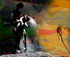 Solitaire / Artist : Theda Tammas (Bamboo Barnes - Artist.Com) Tags: solitaire art digitalart virtualart thedatammas secondlife vivid yellow orange black blue green texture manipulation figure woman grey white light shadow movement bamboobarnes