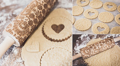 Baking (V Photography and Art) Tags: baking rollingpin embossed pattern triptych three steps dough flour rolling home