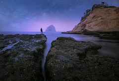 Stars and Sea (nickmillward) Tags: landscape explore oregon astrophotography stars sea ocean beach coast water rocks rock horizon travel nature outdoors outside adventure night nightscape seascape photography image photo twilight dawn cliff cliffs shore shoreline