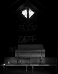 Moon and Raze were here (michaelmueller410) Tags: schwarzweis bänke ruine benches hut window fenster licht spinnweben spiderweb web tags tagging wood hütte ulenburg holzhütte schuppen cabin bank
