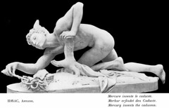 Antonin Idrac (1849–1884) - Mercure inventant le caducée (1879) (ketrin1407) Tags: antoninidrac idrac mercure mercury caduceus serpent statue sculpture crouching nude naked sensual erotic 19thcentury mythology blackandwhite blackbackground