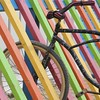 bicycolours (No Great Hurry) Tags: bsquarecompetition bsquare slats candystriped wood wooden colours colourful orange green yellow purple blue bike bicycle placencia belize square nogreathurry robinmauricebarr abstract bicycolours art arty diagonal 550d white february2018 wheel tire tyre avril abstrait