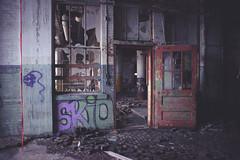 Red Door (IAmTheSoundman) Tags: cleveland ohio urbanexploring urbex abandoned takumar 28mm m42 jakebarshick sony a99 red door