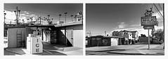 rockview drive thru fullerton (fe2cruz) Tags: white bw monochrome blackwhite black blackandwhite 7dwf diptych iphone mobilephone cellphone architecture fullerton california socal ca palmtree rockview dairy drivethru store convenience market mono