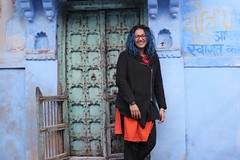 giggling in the Blue City (photo by Josh) (olive witch) Tags: 2018 abeerhoque blue day door india jan18 january jodhpur me outdoors rajasthan
