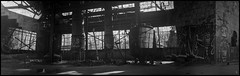 Robot Smoke (argentography) Tags: ica polyskop polyscop ilford hp5 abandoned derelict graffiti factory monochrome panoramic overlappingframes