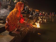 On the Ganges bank in Varanasi (Dick Verton ( more than 13.000.000 visitors )) Tags: india travel varanasi fire gangesbank woman ritual asia traveling evening