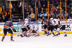 """Kansas City Mavericks vs. Indy Fuel, February 17, 2018, Silverstein Eye Centers Arena, Independence, Missouri.  Photo: © John Howe / Howe Creative Photography, all rights reserved 2018 • <a style=""""font-size:0.8em;"""" href=""""http://www.flickr.com/photos/134016632@N02/39676655004/"""" target=""""_blank"""">View on Flickr</a>"""