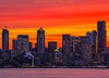 seattle sunrise 2-21-18 (Light of the Moon Photography) Tags: downtown seattle city sunrise golden glow red sky dawn columbia tower