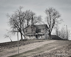 Abandoned_186508 (rjmonner) Tags: abandoned neglected rural iowa windmill farm farmstead agriculture agricultural midwest cornbelt hill house home vacated deserted empty windmillwednesday
