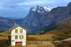 Abandoned house (Maria MK2011) Tags: switzerland house mountains landscape europe travel nature snow sky autumn mountain interlaken grass outdoors hiking building road alps
