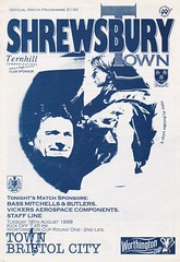 Shrewsbury Town vs Bristol City - 1998 - Cover Page (The Sky Strikers) Tags: shrewsbury town bristol city gay meadow worthington cup road to wembley official match programme one pound