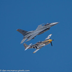 F-16 and P-51 (Kukui Photography) Tags: p51 mustang davis monthan afb arizona heritage flight practice tucson davismonthanafb heritageflightpractice p51mustang