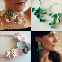 Handmade Paper Jewelry by Alessandra Fabre Repetto (all things paper) Tags: paperjewelry paperearrings papermache papersculpture greenweddings ecofriendly earthfriendly ecoweddingdesign papernecklace paperflowers
