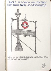 London places and how they got their name # 5 Outside Westminster Station (oxlade134) Tags: westminster london name underground sketch pen ink drawing st peters minister city cityoflondon