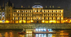 Palais de Justice (albyn.davis) Tags: night light lights river seine boat paris france europe yellow golden gold brown travel city urban history historic bright vivid vibrant architecture landmark