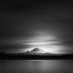 mount rainier (nlwirth) Tags: nlwirth yup longexposure blackandwhite water mountain lake clouds light sky