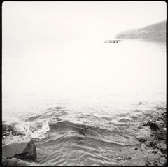creek (lawatt) Tags: fjord water reykjarfjördur silver djúpavík árneshreppur iceland film polaroid 667 hasselblad 80mm overexposed