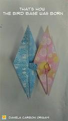 Tutto ciò che avreste voluto sapere sull'origami*  (*ma non avete mai osato chiedere).  Com'è nata la base della gru. Carta Chyogami Collection decorata, lato 7,5 cm. ----------------------------- Everything you always wanted to know about origami* (*but (Nocciola_) Tags: