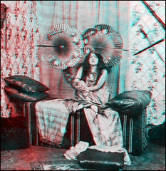 The Vamp I (anaglyph) (ookami_dou) Tags: vintage stereoview woman parasol anaglyph