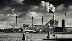 Kvaesthusbroen (toniertl) Tags: copenhagen2017 denmark toniphotoxoncouk monochrome bw fishing jetty pier local powerstation chimney steam vapour clouds river channel contrast docks industrial architecture