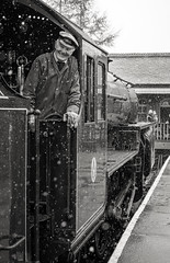 """Smiling through the snow"" John Bradshaw, Fireman (Liam60009) Tags: eastlancashirerailway elr railway station rawtenstall rawtenstallstation fireman footplatecrew footplate steam steamlocomotive steamtrain steaming portrait people blackandwhite monochrome bw 13065 lms hughes hughesfowler crab sony sonya7rii a7rii"