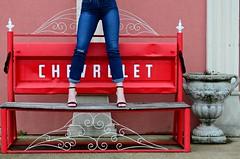 The Red Chevrolet Bench (Studio d'Xavier) Tags: werehere standingonstuff benchmonday hbm red chevrolet